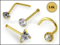 14K Gold Nose Pins