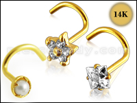 14K Gold  Screw Nose Pins