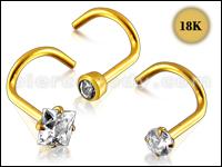 18K Gold Nose Pins