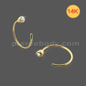 14K Gold Basel set Jeweled Open Hoop Nose Ring