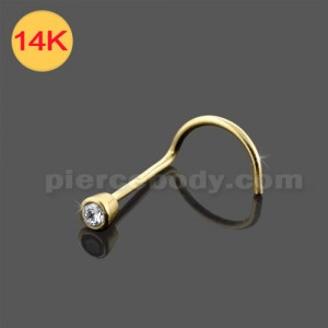 14K Gold Round Jeweled Nose Screw