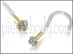 Bio-Plast Nose Screw with 14K Gold Square Head