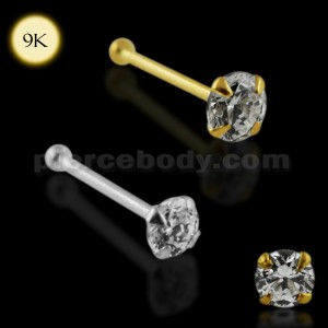 9K Solid Gold Ball End Jeweled Nose Pin
