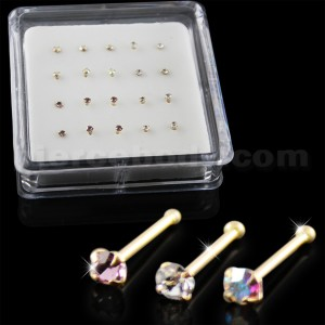 Clear,Amethyst and AB Color 9K Gold Ball End Nose Pins in Mini Box
