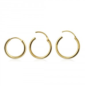 9K Yellow Gold Hinged Segment Hoop Nose Rings in a Box