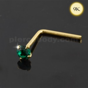 9K Gold Emerald Jeweled Nose Stud
