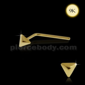 9K Gold L-Shaped 3D Pyramid Nose Stud