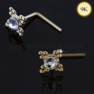 9K yellow Gold Jeweled L-Shape Nose Stud with Tribal Dots
