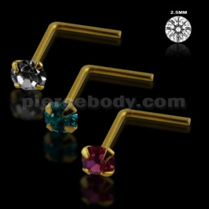Clear,Aqua and Pink Color 14K Gold L-Shape Nose Pins in Mini Box