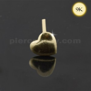 9K Gold Embossed Heart Straight Nose Stud
