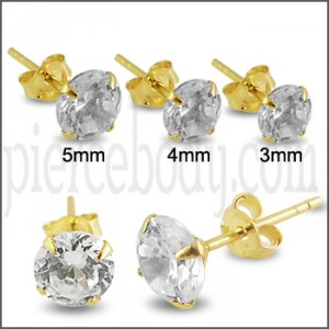 9K Solid Yellow Gold CZ Ear Stud