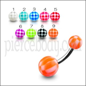 SS Banana  Bar Belly Ring With Orange UV ball