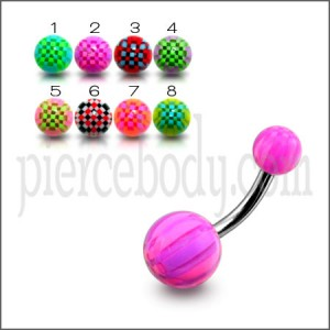 SS Navel Banana Bar With Mix Colorful UV Balls