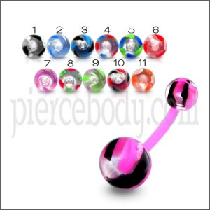 UV Navel Ring Cuved Bar With Colorful UV Balls