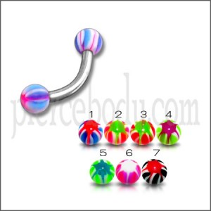SS Eyebrow Banana with Multi Color UV Star Print Balls Body Jewelry