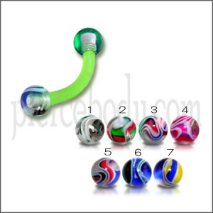 UV Green Eyebrow Ear Banana Bar With Multi Marble Color UV Balls