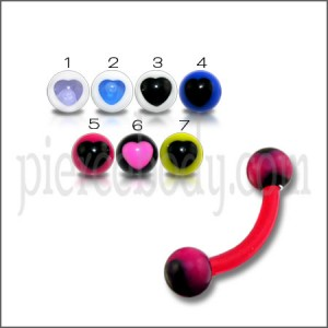 Red UV Eyebrow Banana Bar Ring with Black UV Heart Print Balls
