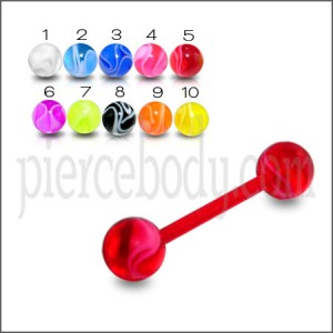 Red UV Tongue Barbell with Logo UV balls