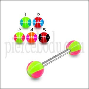 SS Tongue Barbell with 5mm UV Balls Body Jewelry