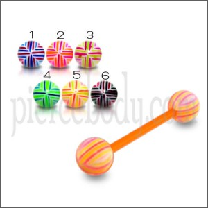 Orange UV Tongue Barbell with Mix Color UV Balls