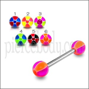 SS Tongue Barbell With Multi Beach Color UV Balls Body Jewelry