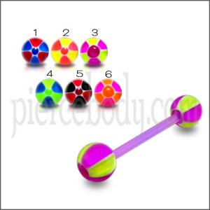 Football Print UV Tongue Barbell with UV Balls