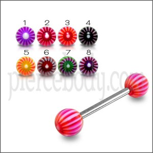 SS Tongue Barbell with Red And White UV Spiral Print Balls Body Jewelry