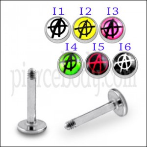 SS Labret with 4mm Spider Web Logo Ball