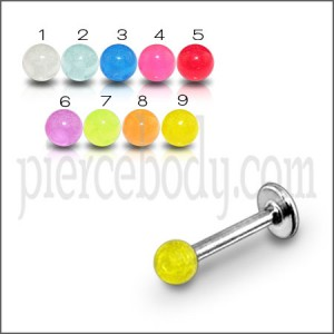 SS Tongue Chin Labret With Acrylic Plain Color UV Fancy Balls