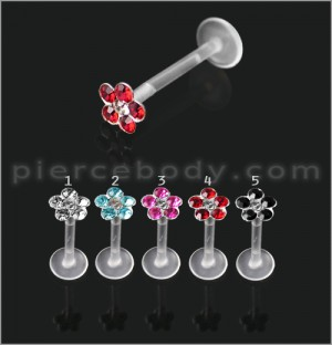 BioFlex Madonna Chin Labret with Flower Jeweled Top