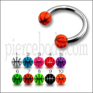Red Mix Color UV Balls with SS Circular Barbells Body Jewelry