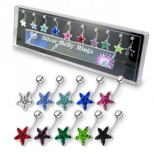 Multi Jeweled Star Silver Belly Ring