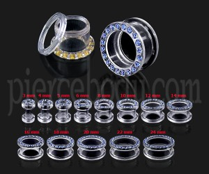 UV Transparent Multi High Quality CZ Ear Flesh Tunnel