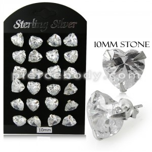 10MM CZ Heart Ear Stud in 12 pair Tray