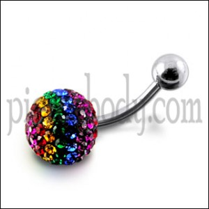 Multi Four Colorful Crystal stone Jeweled Banana Bar Navel  Ring body Jewelry