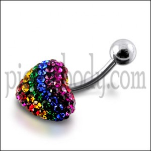 Mix Color Crystal stone Heart Curved Bar Navel Ring Body Jewelry