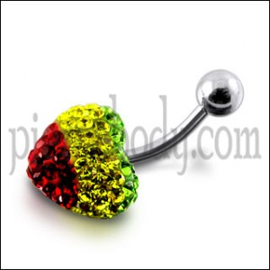 Triple Color Crystal stone Heart With SS Banana Bar Belly Ring