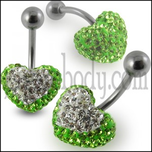 Mix Color Crystal stone Heart With Banana Barbell Belly Body Jewelry Ring