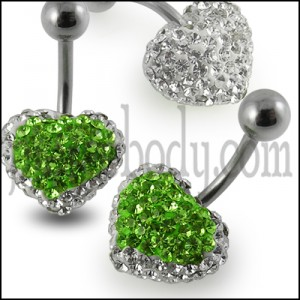 Green And White Crystal stone Fancy Heart SS Banana Bar Navel Ring