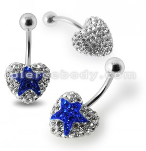 White Crystal stone With Blue Heart  With Banana Bar Belly Ring FDBLY388