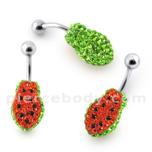 Papaya Crystal stone Belly Ring