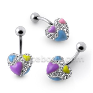 Multi Crystal Stone Heart Studded Navel Ring With SS Curved Bar FDBLY409