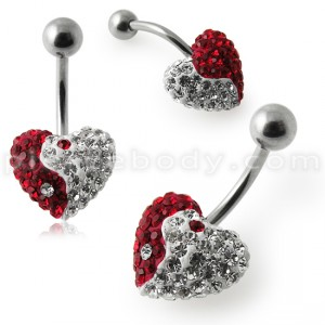 Crystal Stone Ying Yang Heart Banana Bar Navel Ring
