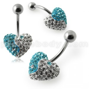12MM Crystal Stone Heart Ying Yang Belly Ring