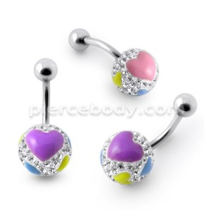 Crystal stone Jeweled With Enamel Print Heart Belly Ring
