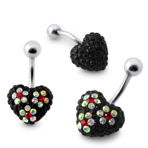 Black Crystal stone Heart With Mix Color Flower SS Banana Bar Belly Ring