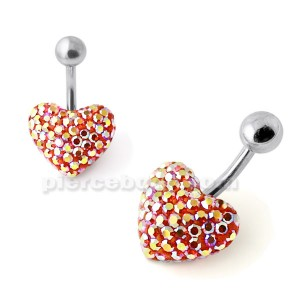 Red And Yellow Crystal Stone Heart Banana Bar Navel Belly Ring