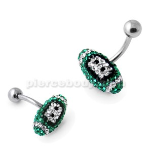 Emerald Crystal Rugby Ball Belly Ring