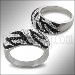 Blacj Ad White Crystal Stone Fashion Finger Ring Body Jewelry