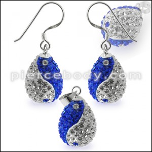 Mutli Preciosa Crystal Tear Drop Ying Yang Earring and Pendant